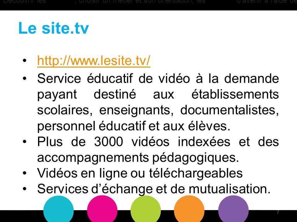 Le site.tv http://www.lesite.tv/ Service éducatif de vidéo à la demande payant destiné aux établissements scolaires, enseignants, documentalistes, personnel éducatif et aux élèves.
