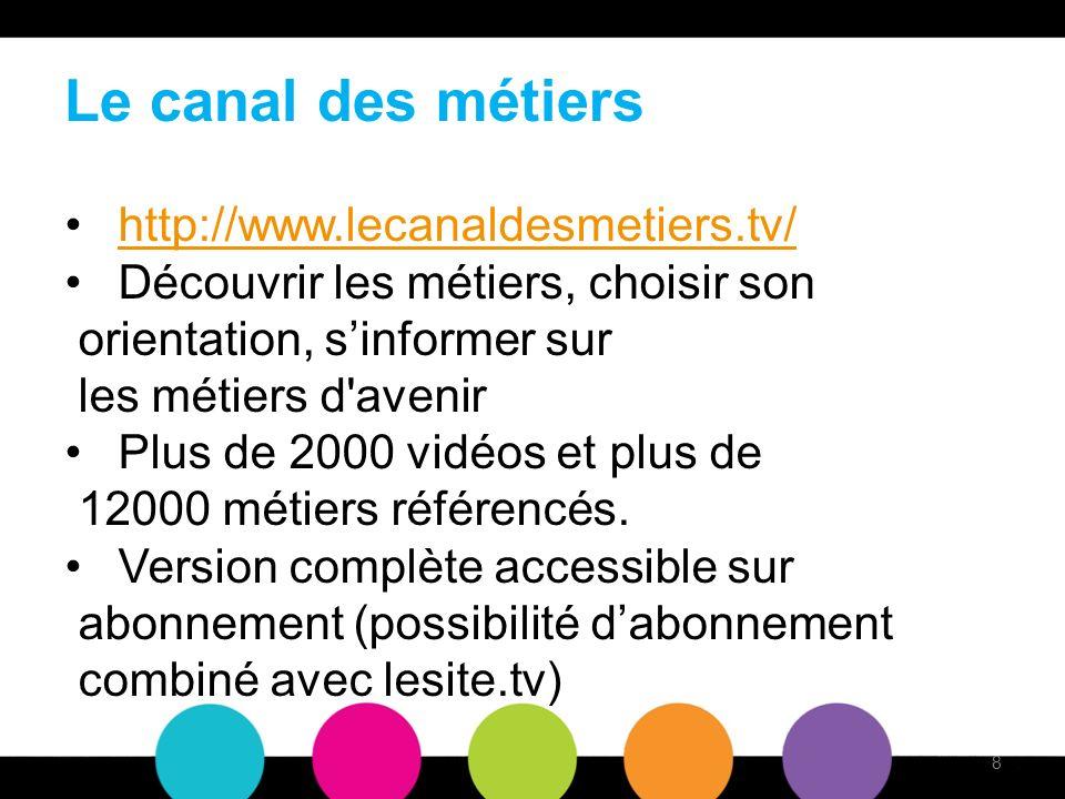 Le canal des métiers http://www.lecanaldesmetiers.tv/ Découvrir les métiers, choisir son orientation, sinformer sur les métiers d avenir Plus de 2000 vidéos et plus de 12000 métiers référencés.
