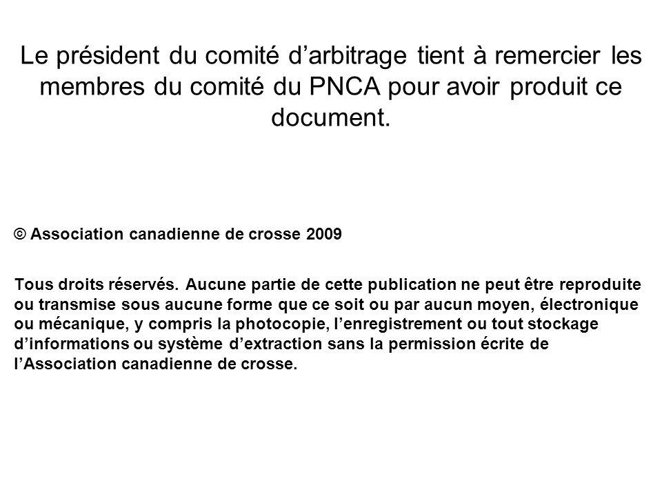 Le président du comité darbitrage tient à remercier les membres du comité du PNCA pour avoir produit ce document. © Association canadienne de crosse 2
