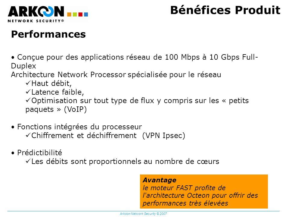 Arkoon Network Security © 2007 Bénéfices Produit Performances Conçue pour des applications réseau de 100 Mbps à 10 Gbps Full- Duplex Architecture Netw
