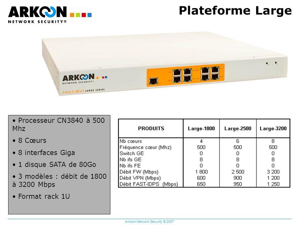 Arkoon Network Security © 2007 Plateforme Large Processeur CN3840 à 500 Mhz 8 Cœurs 8 interfaces Giga 1 disque SATA de 80Go 3 modèles : débit de 1800