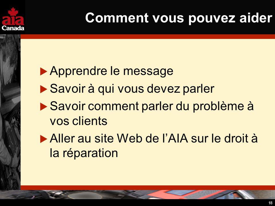 18 Comment vous pouvez aider Apprendre le message Savoir à qui vous devez parler Savoir comment parler du problème à vos clients Aller au site Web de lAIA sur le droit à la réparation