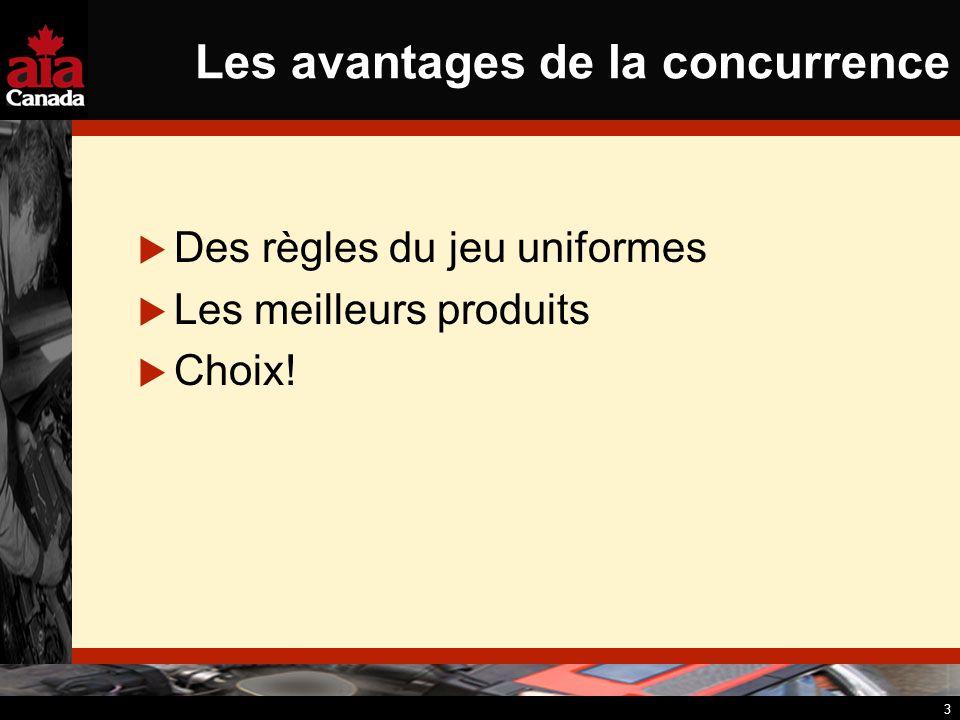 3 Les avantages de la concurrence Des règles du jeu uniformes Les meilleurs produits Choix!