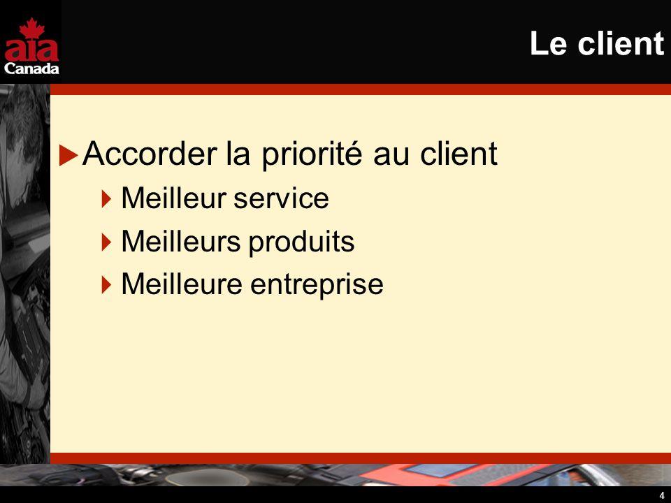 4 Le client Accorder la priorité au client Meilleur service Meilleurs produits Meilleure entreprise