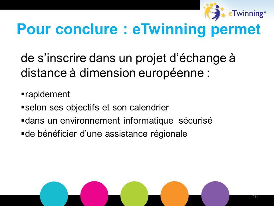 Pour conclure : eTwinning permet de sinscrire dans un projet déchange à distance à dimension européenne : rapidement selon ses objectifs et son calendrier dans un environnement informatique sécurisé de bénéficier dune assistance régionale 10