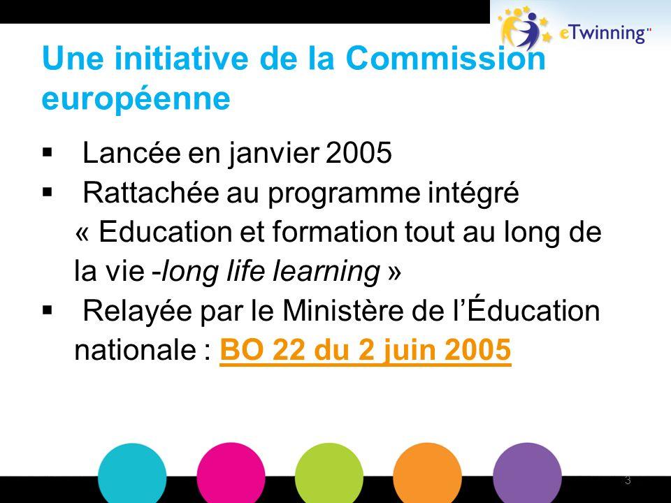Une initiative de la Commission européenne Lancée en janvier 2005 Rattachée au programme intégré « Education et formation tout au long de la vie -long life learning » Relayée par le Ministère de lÉducation nationale : BO 22 du 2 juin 2005BO 22 du 2 juin 2005 3