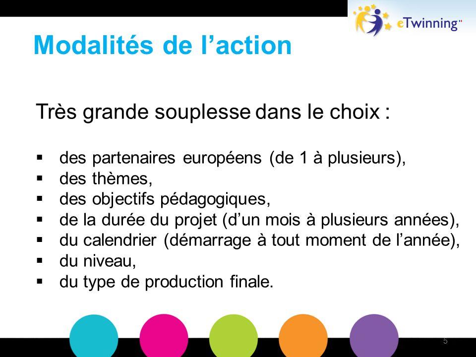 Modalités de laction Très grande souplesse dans le choix : des partenaires européens (de 1 à plusieurs), des thèmes, des objectifs pédagogiques, de la durée du projet (dun mois à plusieurs années), du calendrier (démarrage à tout moment de lannée), du niveau, du type de production finale.