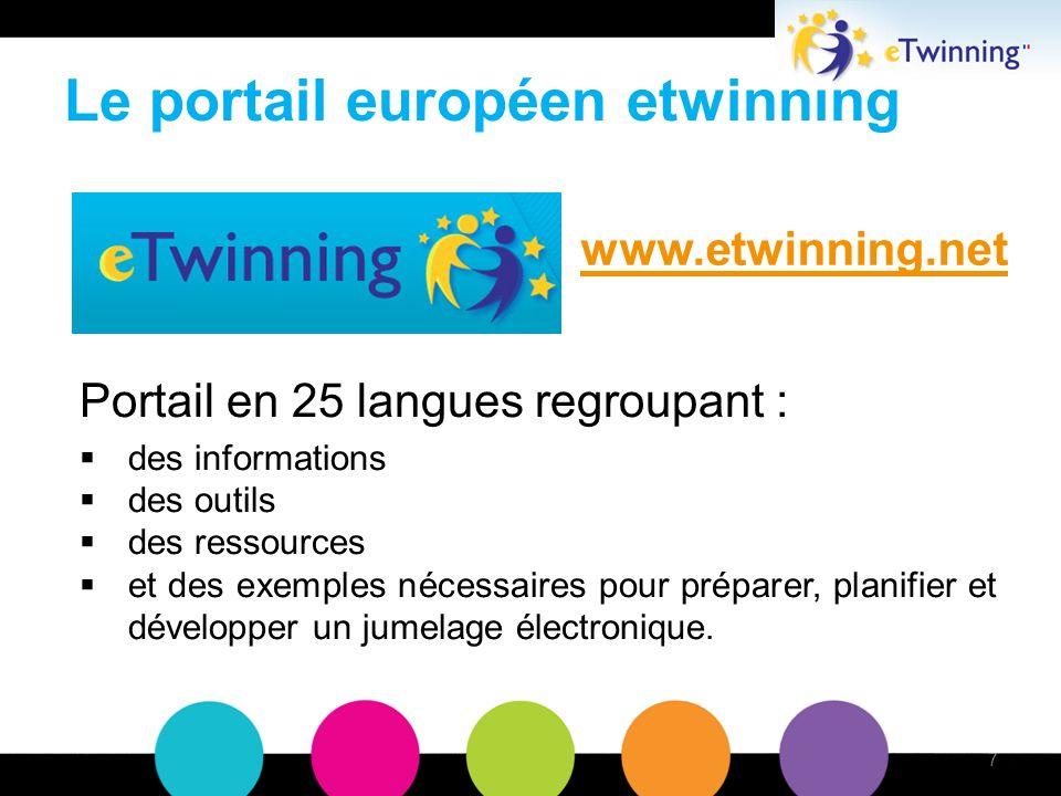 Le portail européen etwinning Portail en 25 langues regroupant : des informations des outils des ressources et des exemples nécessaires pour préparer, planifier et développer un jumelage électronique.