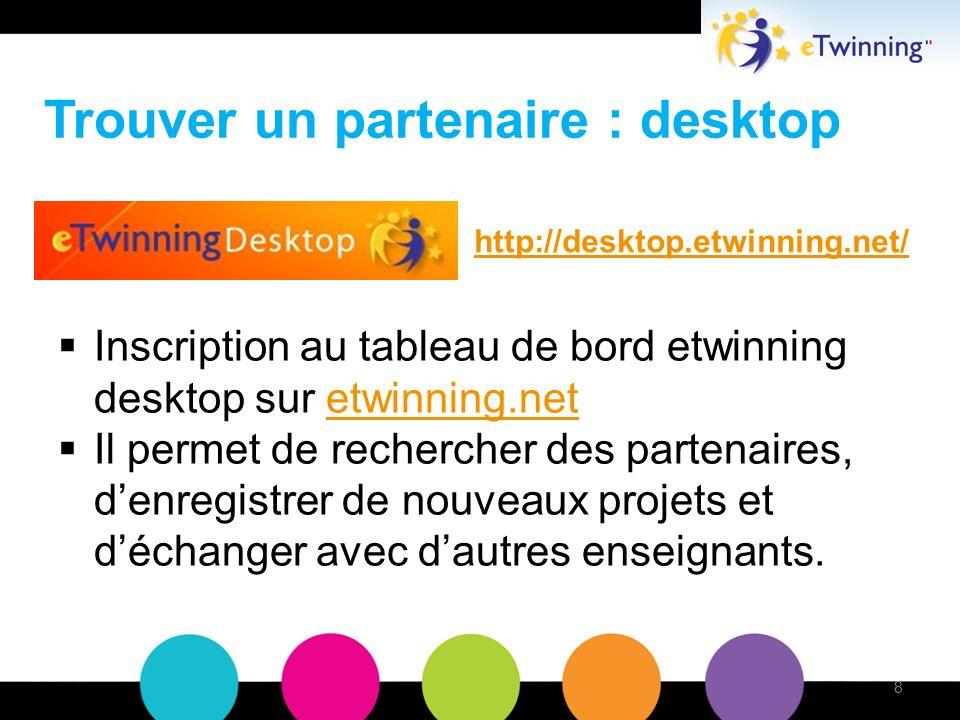 Trouver un partenaire : desktop Inscription au tableau de bord etwinning desktop sur etwinning.netetwinning.net Il permet de rechercher des partenaires, denregistrer de nouveaux projets et déchanger avec dautres enseignants.