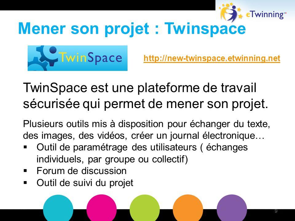 Mener son projet : Twinspace TwinSpace est une plateforme de travail sécurisée qui permet de mener son projet.
