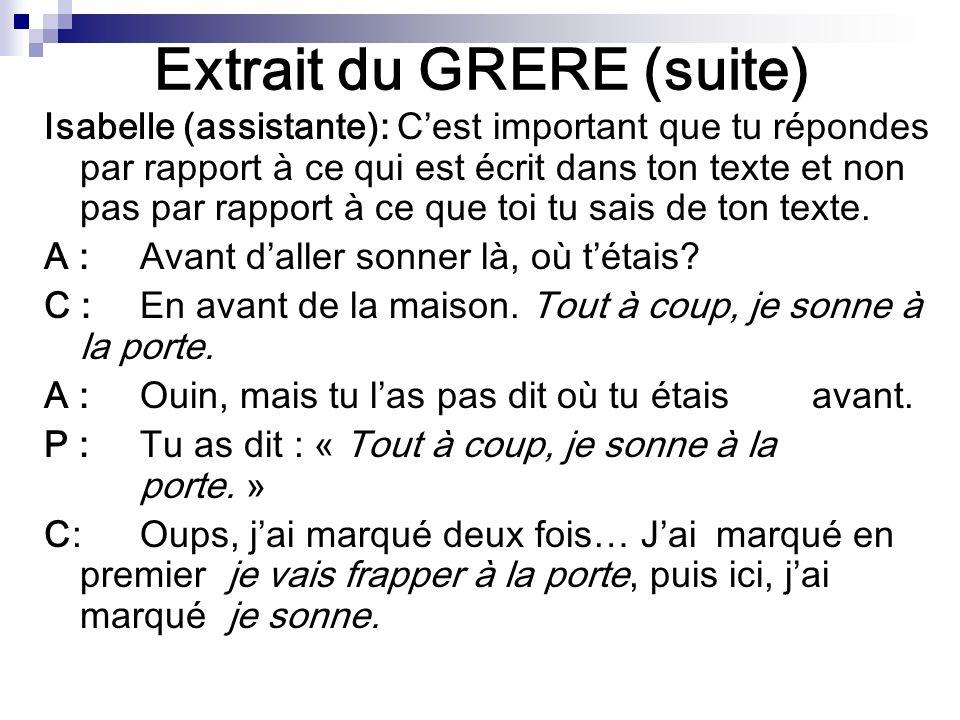 Extrait du GRERE (suite) Isabelle (assistante): Cest important que tu répondes par rapport à ce qui est écrit dans ton texte et non pas par rapport à ce que toi tu sais de ton texte.