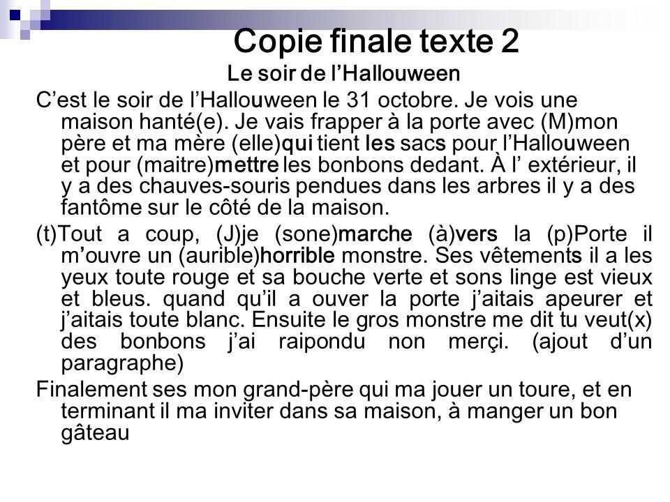 Copie finale texte 2 Le soir de lHallouween Cest le soir de lHallouween le 31 octobre.