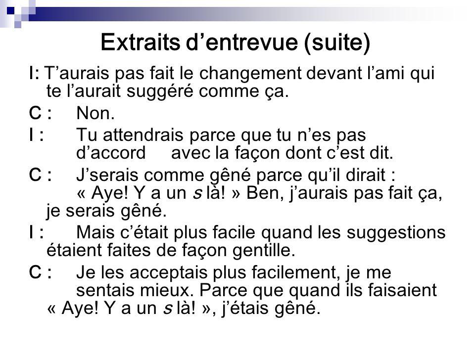 Extraits dentrevue (suite) I: Taurais pas fait le changement devant lami qui te laurait suggéré comme ça.