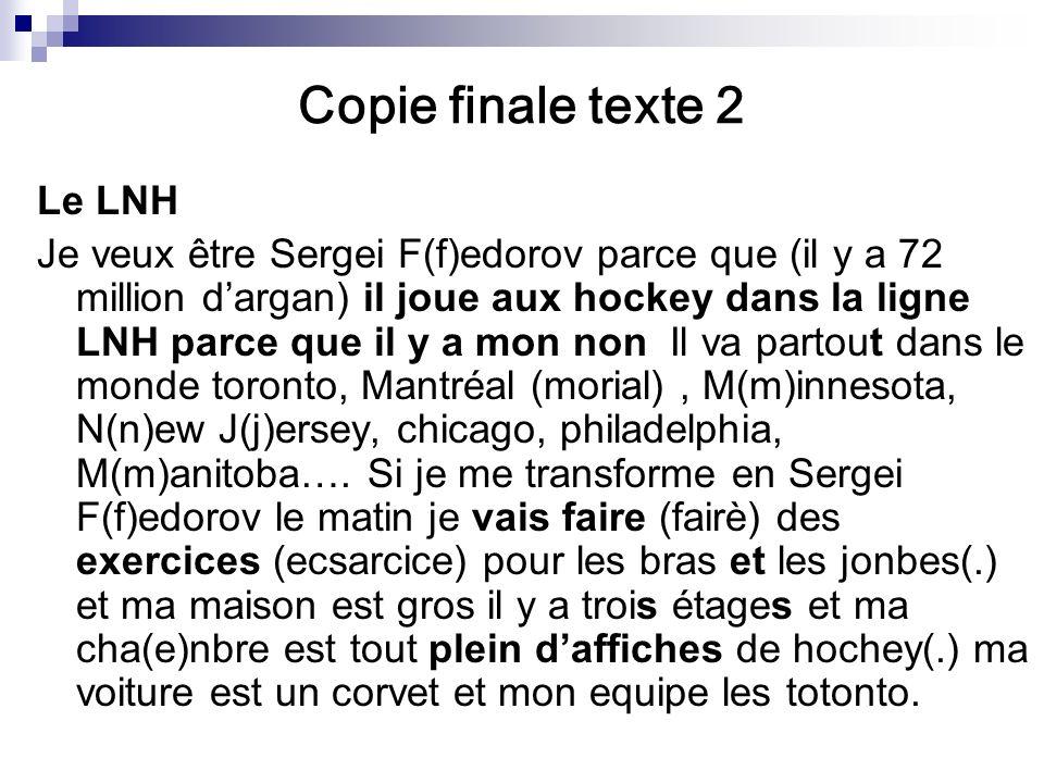 Copie finale texte 2 Le LNH Je veux être Sergei F(f)edorov parce que (il y a 72 million dargan) il joue aux hockey dans la ligne LNH parce que il y a mon non Il va partout dans le monde toronto, Mantréal (morial), M(m)innesota, N(n)ew J(j)ersey, chicago, philadelphia, M(m)anitoba….
