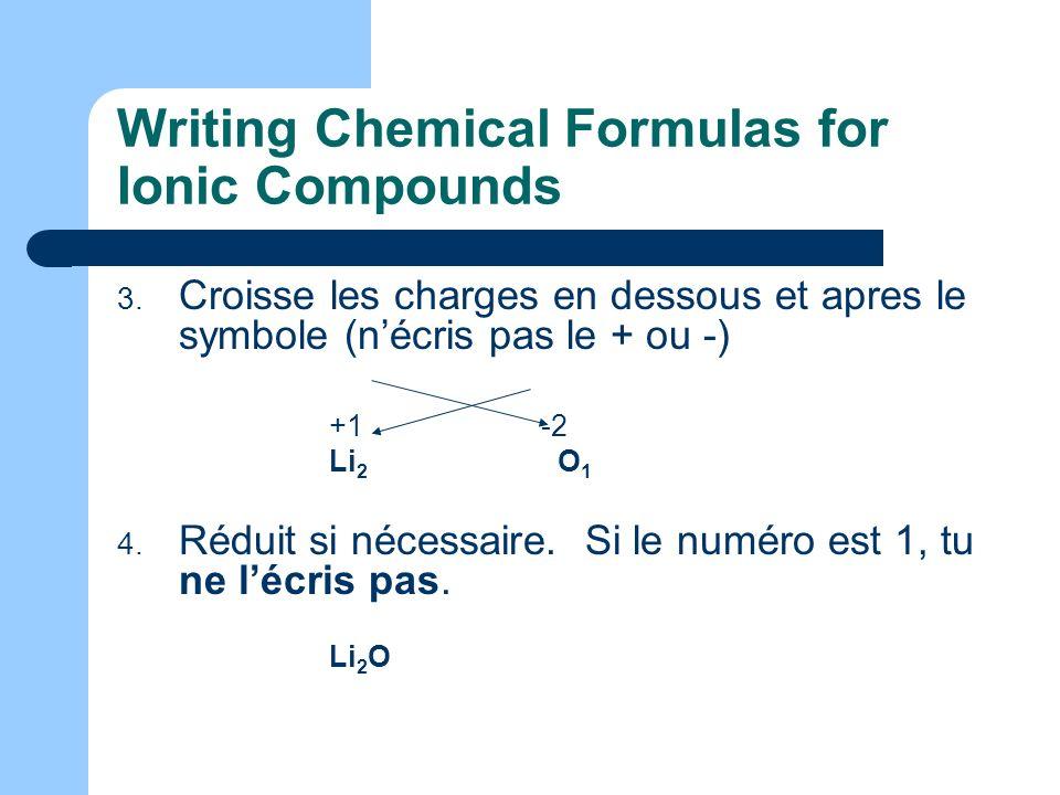 Writing Chemical Formulas for Ionic Compounds 3. Croisse les charges en dessous et apres le symbole (nécris pas le + ou -) +1-2 Li 2 O 1 4. Réduit si