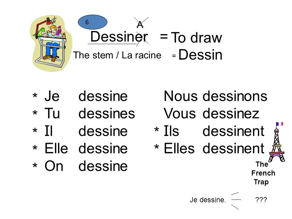 Dessiner = To draw The stem / La racine = Dessin 6 Je Tu I l Elle On dessin e es e Nous Vous I ls Elles dessin ons ez ent ********** **** A Je dessine