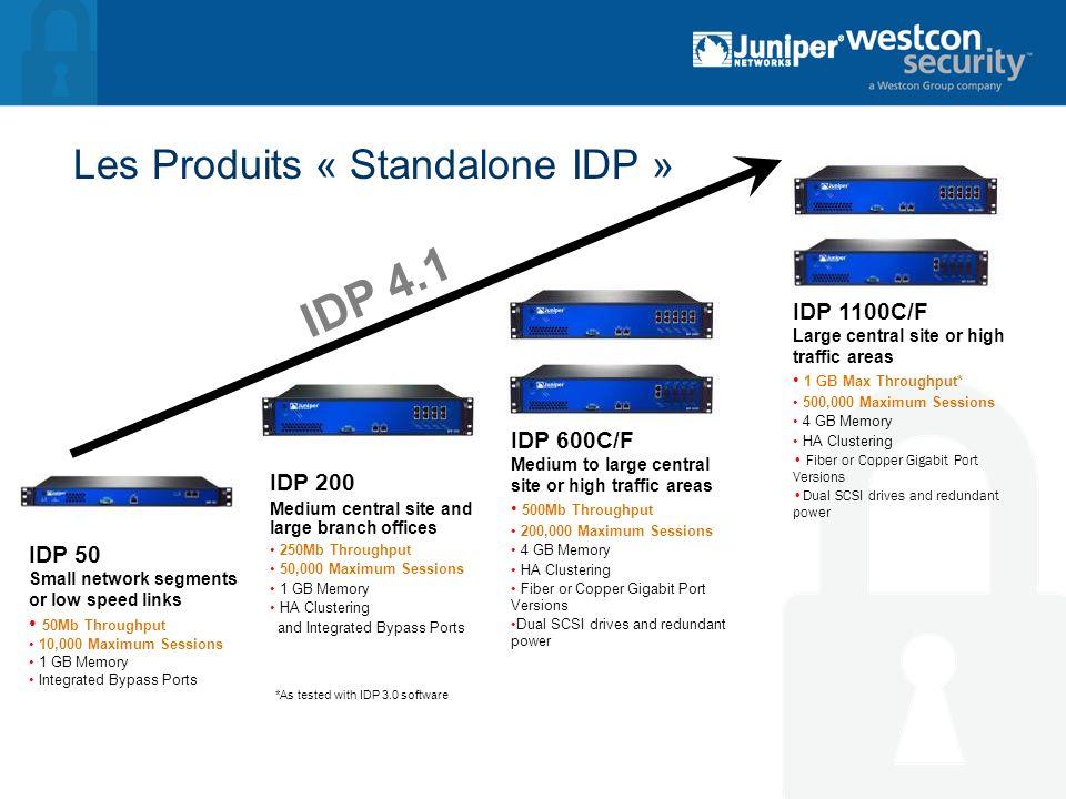 Les Modules IDP pour les Netscreen-ISG « IDP Security Blade » pour ISG 1000 ISG 2000 La Solution intégrée á 2 besoins : Intégration de lIDP á la Gateway (IDP et FW/VPN) Les mêmes Hautes Performances des standalone Multi-Gig IDP Le meilleur de la Sécurité + du réseau dans une même plateforme Juniper ISG 2000 Juniper ISG 1000