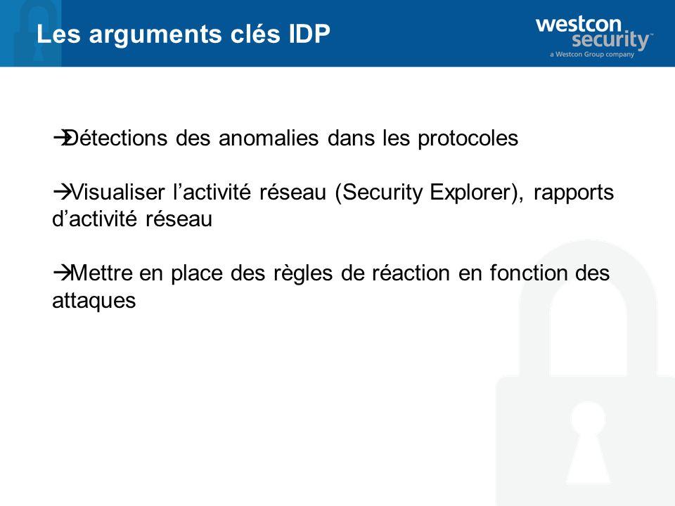Les arguments clés IDP Détections des anomalies dans les protocoles Visualiser lactivité réseau (Security Explorer), rapports dactivité réseau Mettre