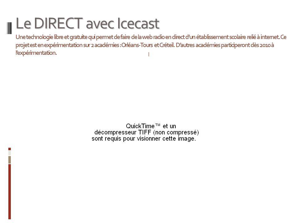 Le DIRECT avec Icecast Le DIRECT avec Icecast Une technologie libre et gratuite qui permet de faire de la web radio en direct dun établissement scolaire relié à internet.