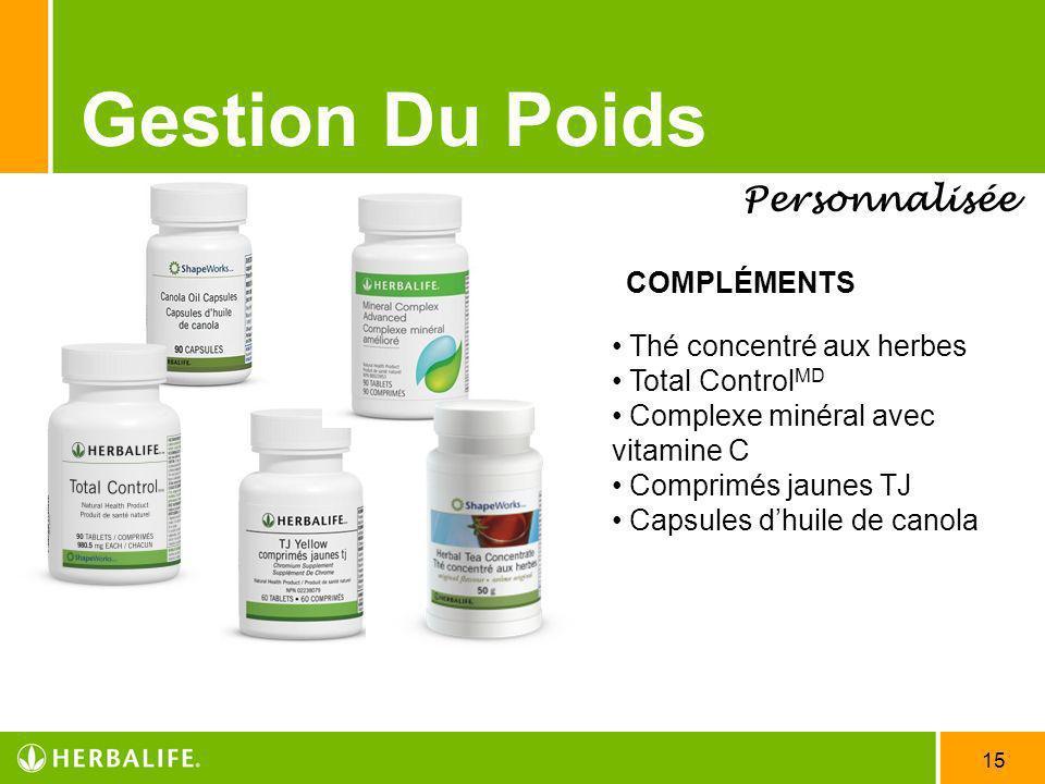 15 Gestion Du Poids Personnalisée COMPLÉMENTS Thé concentré aux herbes Total Control MD Complexe minéral avec vitamine C Comprimés jaunes TJ Capsules