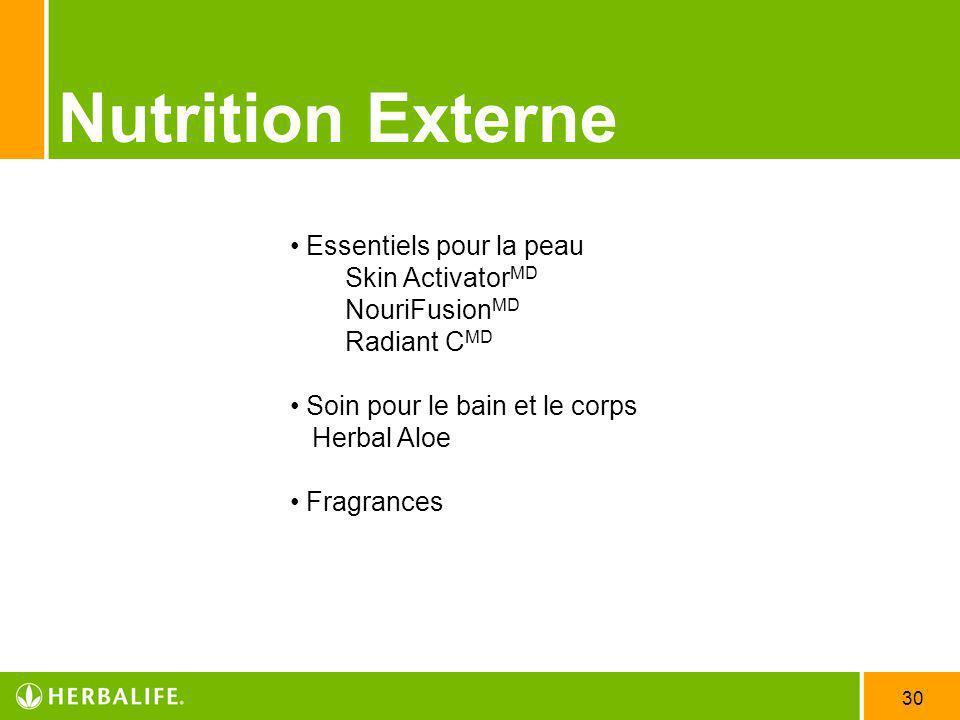 30 Nutrition Externe Essentiels pour la peau Skin Activator MD NouriFusion MD Radiant C MD Soin pour le bain et le corps Herbal Aloe Fragrances
