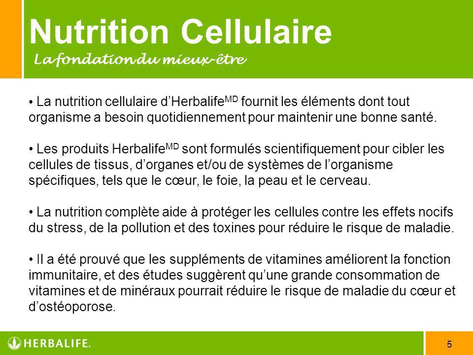 5 Nutrition Cellulaire La fondation du mieux-être La nutrition cellulaire dHerbalife MD fournit les éléments dont tout organisme a besoin quotidiennem