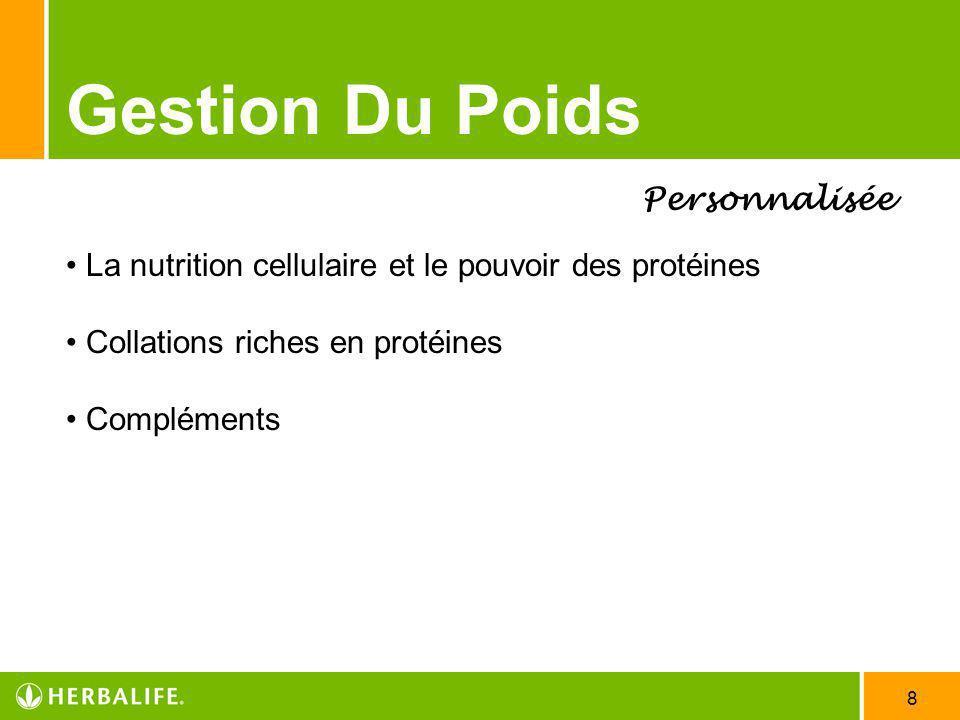 8 Gestion Du Poids Personnalisée La nutrition cellulaire et le pouvoir des protéines Collations riches en protéines Compléments