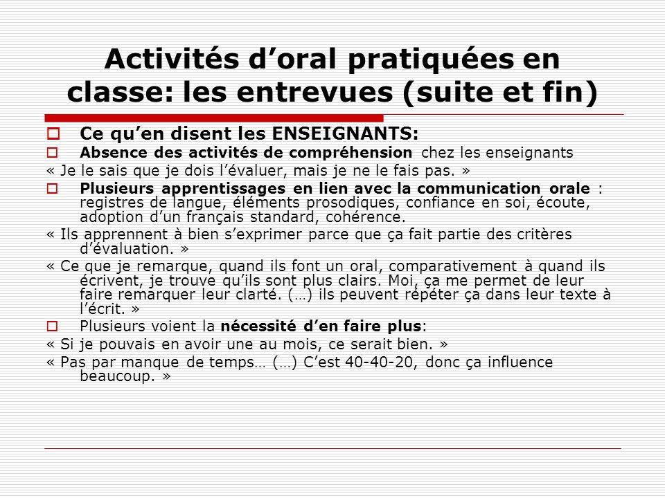 Activités doral pratiquées en classe: les entrevues (suite et fin) Ce quen disent les ENSEIGNANTS: Absence des activités de compréhension chez les ens