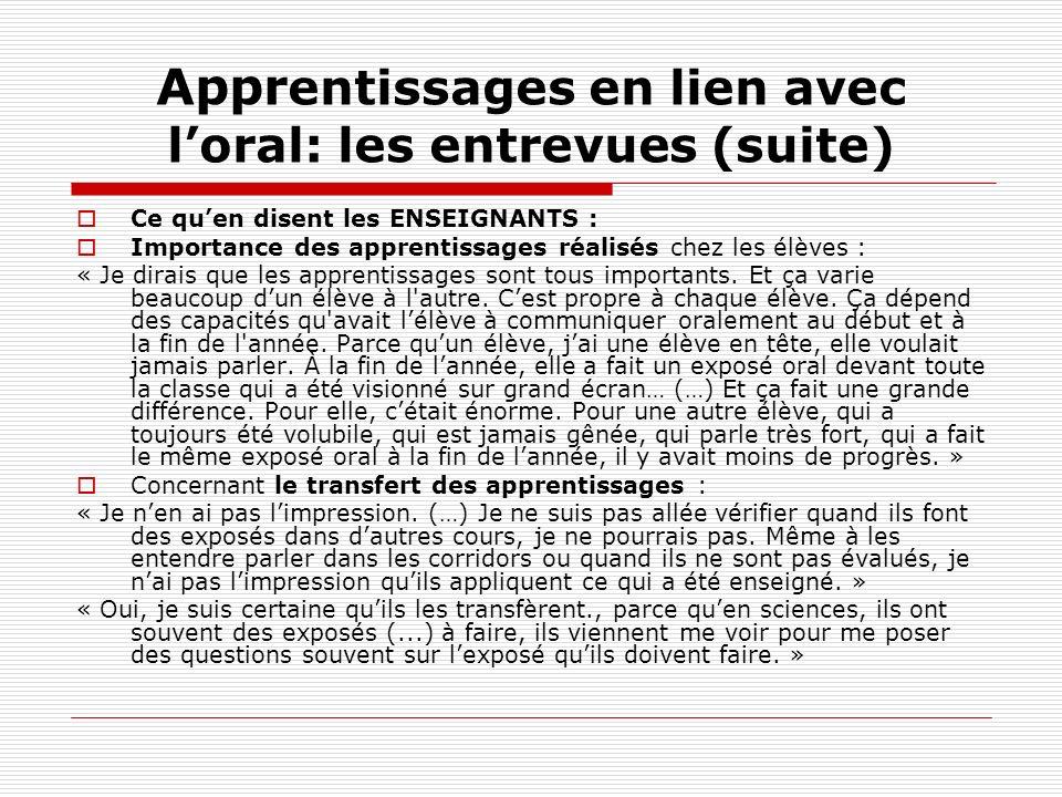 Appr entissages en lien avec loral: les entrevues (suite) Ce quen disent les ENSEIGNANTS : Importance des apprentissages réalisés chez les élèves : «