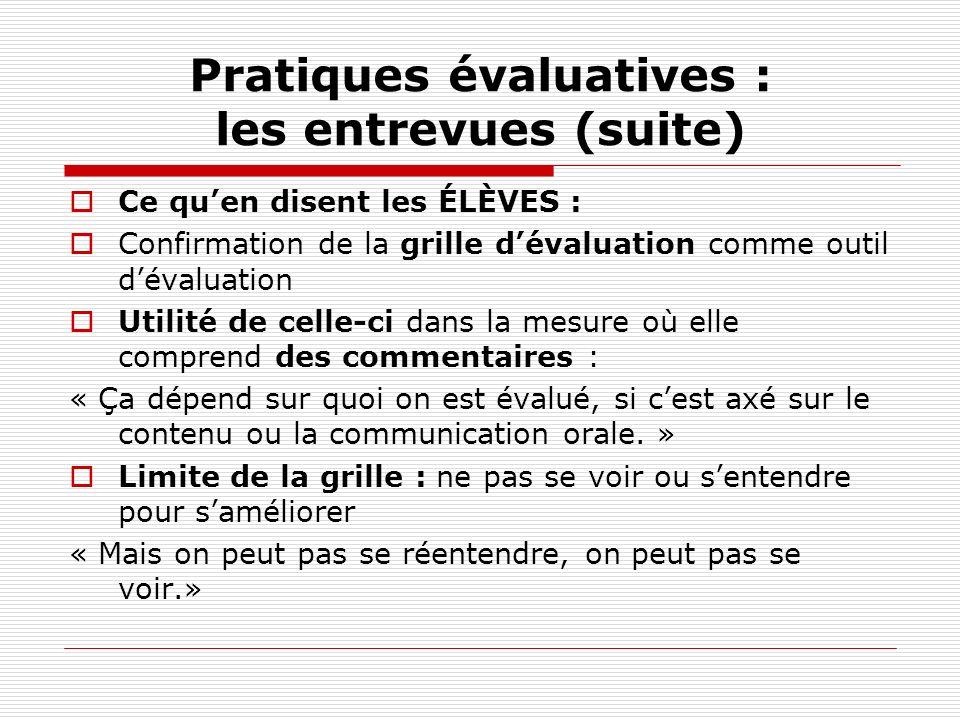 Pratiques évaluatives : les entrevues (suite) Ce quen disent les ÉLÈVES : Confirmation de la grille dévaluation comme outil dévaluation Utilité de cel