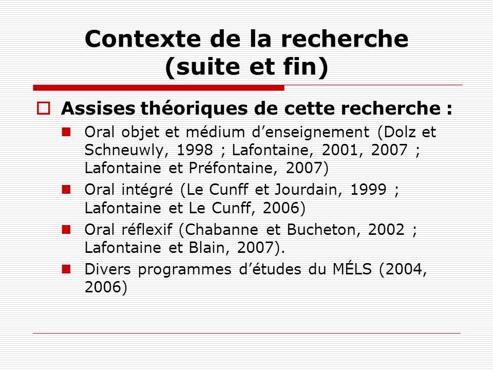 Contexte de la recherche (suite et fin) Assises théoriques de cette recherche : Oral objet et médium denseignement (Dolz et Schneuwly, 1998 ; Lafontai