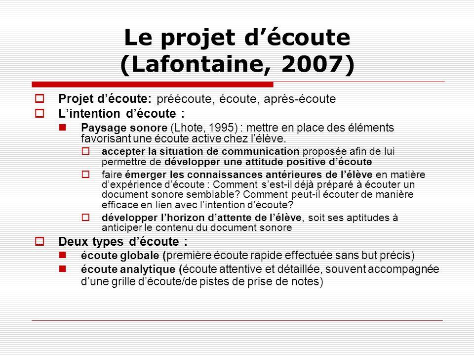 Le projet découte (Lafontaine, 2007) Projet découte: préécoute, écoute, après-écoute Lintention découte : Paysage sonore (Lhote, 1995) : mettre en pla