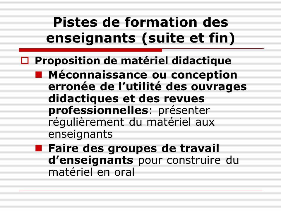 Pistes de formation des enseignants (suite et fin) Proposition de matériel didactique Méconnaissance ou conception erronée de lutilité des ouvrages di