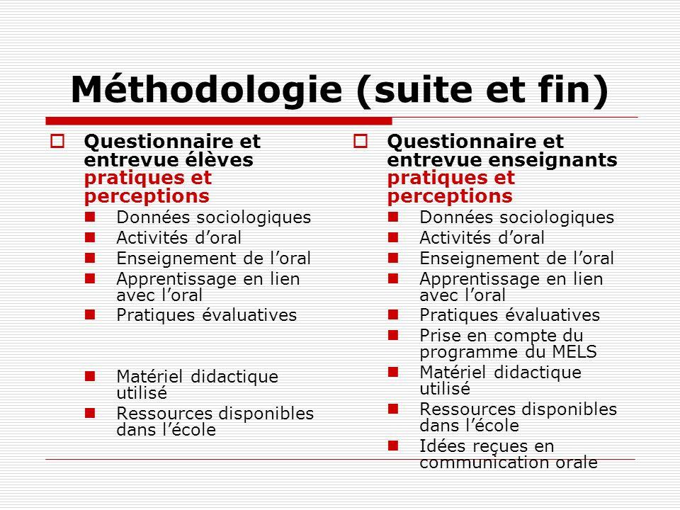 Méthodologie (suite et fin) Questionnaire et entrevue élèves pratiques et perceptions Données sociologiques Activités doral Enseignement de loral Appr