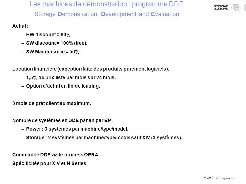 © 2011 IBM Corporation Achat : –HW discount = 80% –SW discount = 100% (free). –SW Maintenance = 50%. Location financière (exception faite des produits