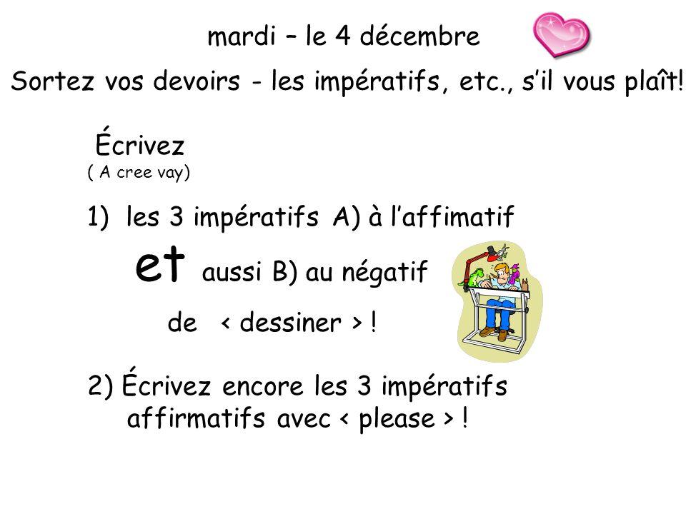 mardi – le 4 décembre Sortez vos devoirs - les impératifs, etc., sil vous plaît.