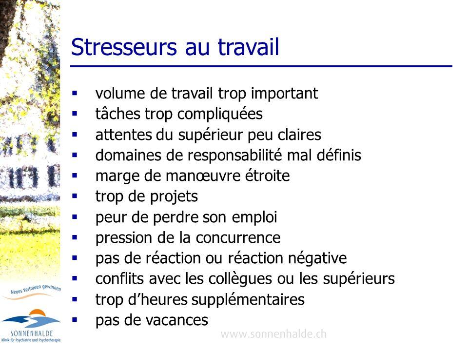 Stresseurs au travail volume de travail trop important tâches trop compliquées attentes du supérieur peu claires domaines de responsabilité mal défini