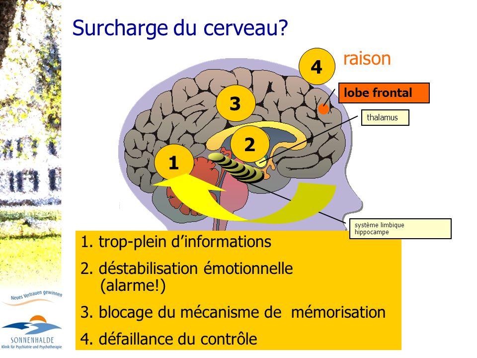 1. trop-plein dinformations 2. déstabilisation émotionnelle (alarme!) 3. blocage du mécanisme de mémorisation 4. défaillance du contrôle 3 système lim