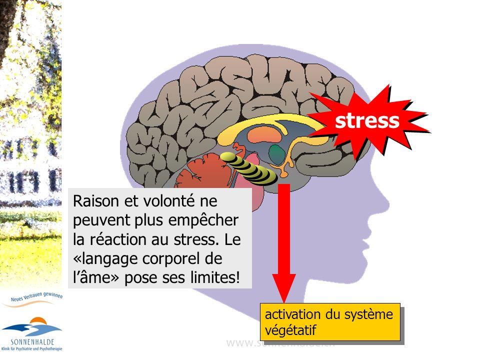 stress activation du système végétatif Raison et volonté ne peuvent plus empêcher la réaction au stress. Le «langage corporel de lâme» pose ses limite
