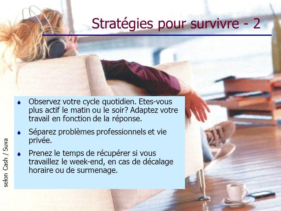 Stratégies pour survivre - 2 selon Cash / Suva S Observez votre cycle quotidien. Etes-vous plus actif le matin ou le soir? Adaptez votre travail en fo