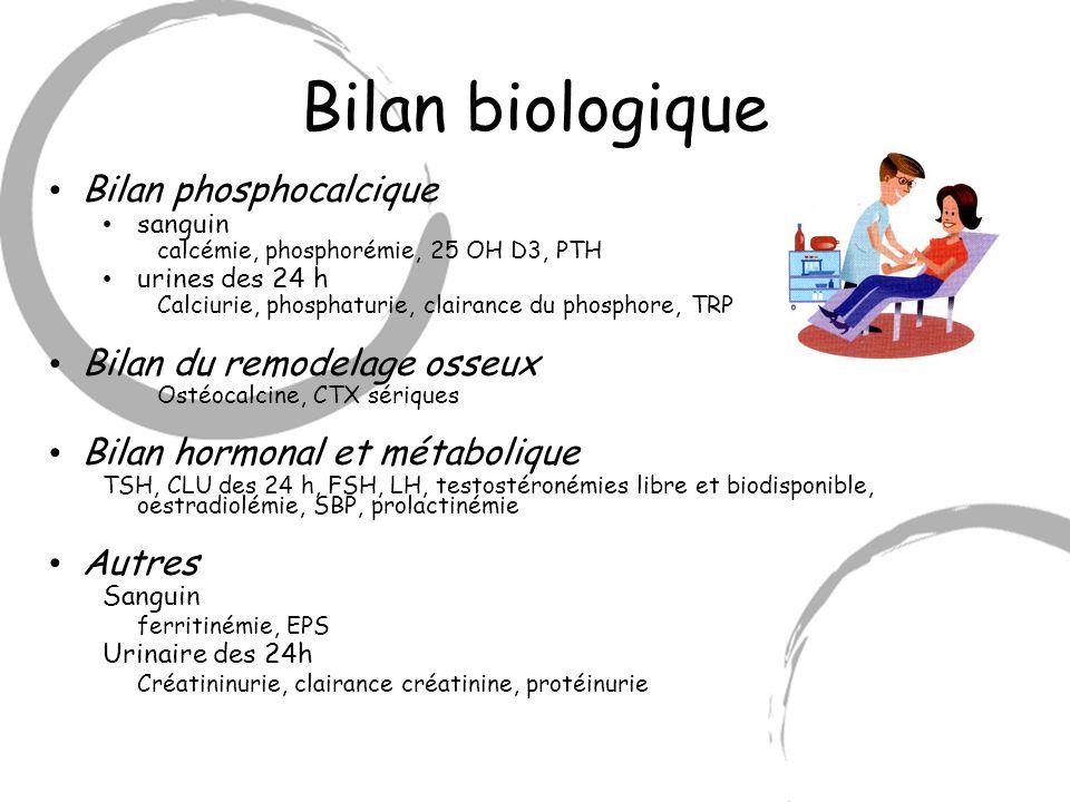 Bilan biologique Bilan phosphocalcique sanguin calcémie, phosphorémie, 25 OH D3, PTH urines des 24 h Calciurie, phosphaturie, clairance du phosphore,
