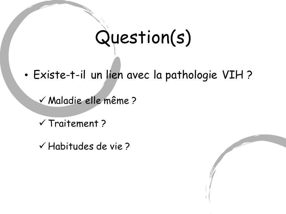 Question(s) Existe-t-il un lien avec la pathologie VIH ? Maladie elle même ? Traitement ? Habitudes de vie ?