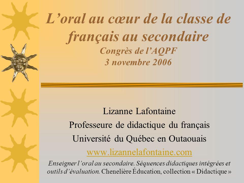 Loral au cœur de la classe de français au secondaire Congrès de lAQPF 3 novembre 2006 Lizanne Lafontaine Professeure de didactique du français Univers