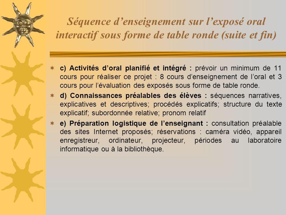 Séquence denseignement sur lexposé oral interactif sous forme de table ronde (suite et fin) c) Activités doral planifié et intégré : prévoir un minimu