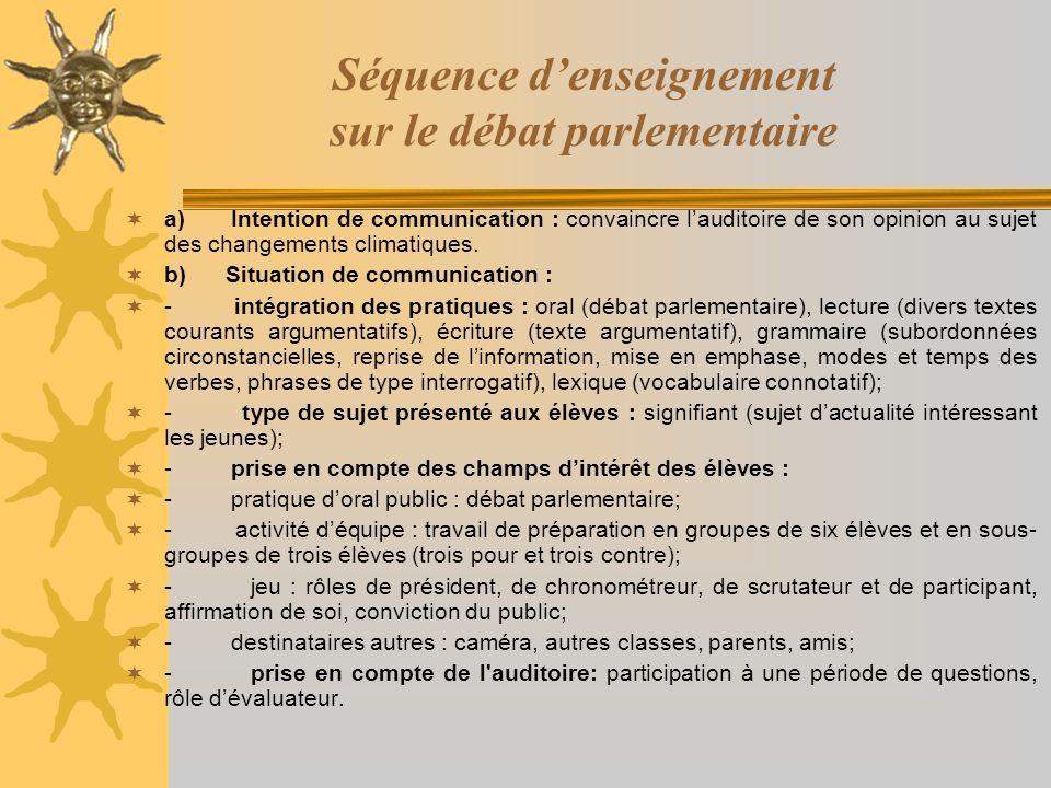 Séquence denseignement sur le débat parlementaire a) Intention de communication : convaincre lauditoire de son opinion au sujet des changements climat