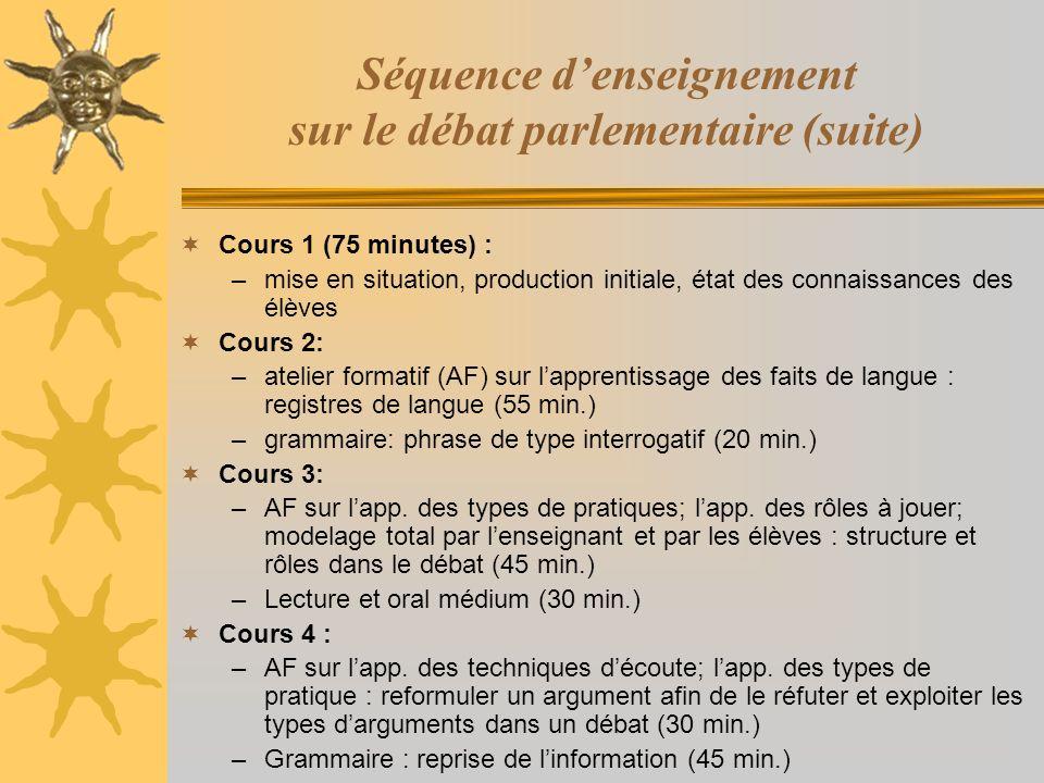 Séquence denseignement sur le débat parlementaire (suite) Cours 1 (75 minutes) : –mise en situation, production initiale, état des connaissances des é