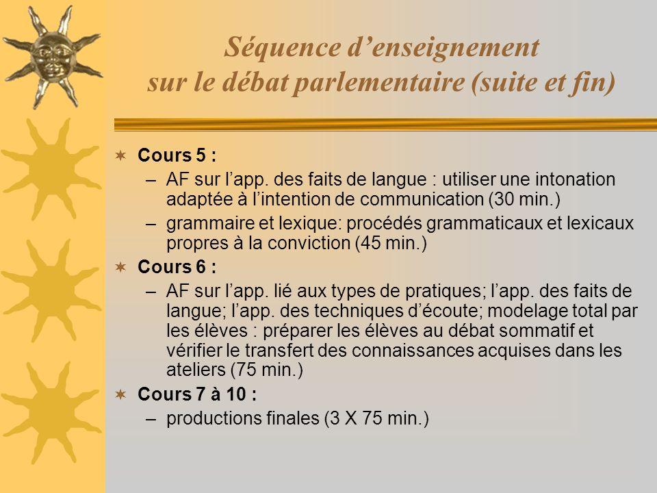 Séquence denseignement sur le débat parlementaire (suite et fin) Cours 5 : –AF sur lapp. des faits de langue : utiliser une intonation adaptée à linte