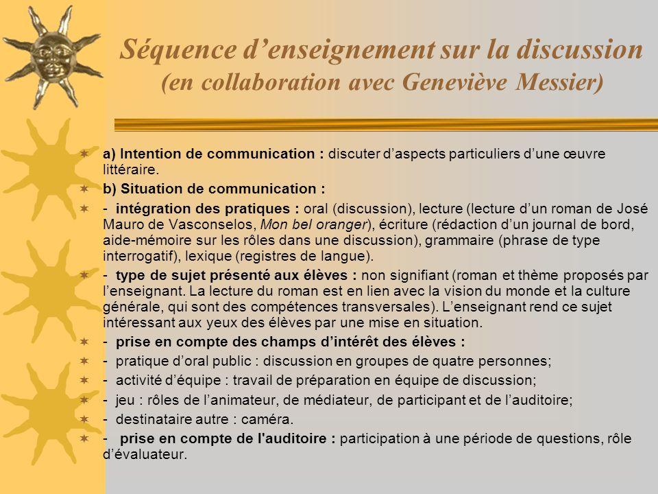 Séquence denseignement sur la discussion (en collaboration avec Geneviève Messier) a) Intention de communication : discuter daspects particuliers dune