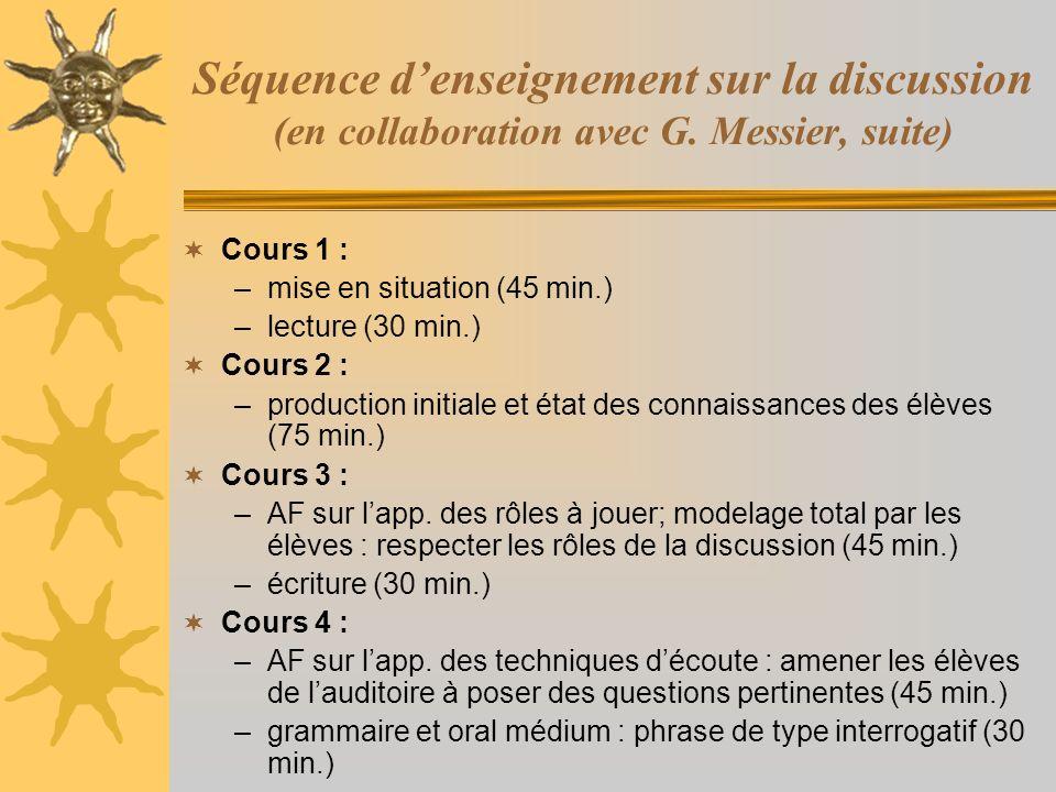 Séquence denseignement sur la discussion (en collaboration avec G. Messier, suite) Cours 1 : –mise en situation (45 min.) –lecture (30 min.) Cours 2 :