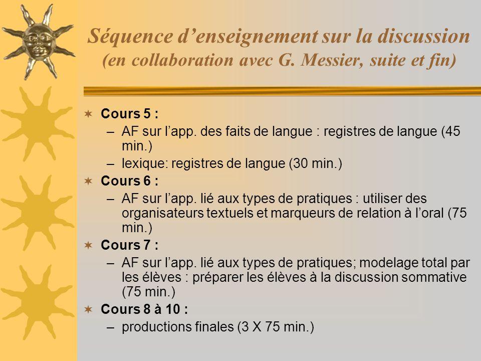Séquence denseignement sur la discussion (en collaboration avec G. Messier, suite et fin) Cours 5 : –AF sur lapp. des faits de langue : registres de l